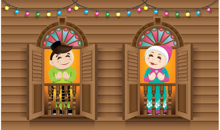 Muslim boy and girl  standing on a Malay style window. Illustration