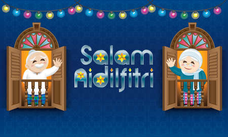 Muslim old man and woman standing on a Malay style window. The words Salam Aidilfitri means happy Hari Raya.