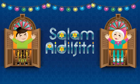 Muslim boy and girl  standing on a Malay style window. The words Salam Aidilfitri means happy Hari Raya. Illustration