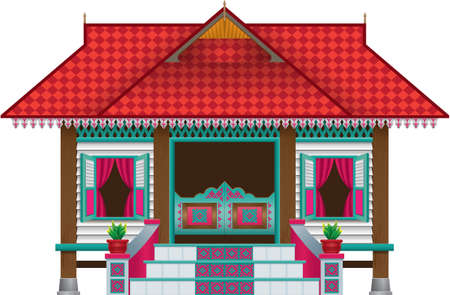 A beautiful traditional wooden Malay style village house. Stock Illustratie
