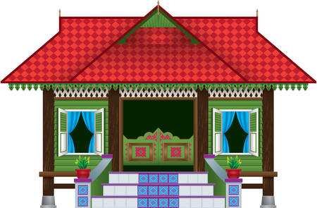 A beautiful traditional wooden Malay style village house. Иллюстрация