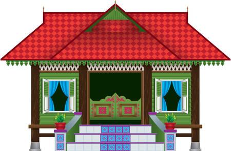 Une belle maison de village de style malais traditionnel en bois. Banque d'images - 99909055