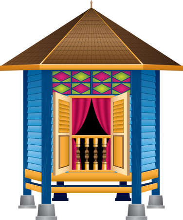 A beautiful traditional wooden Malay style village house. 일러스트