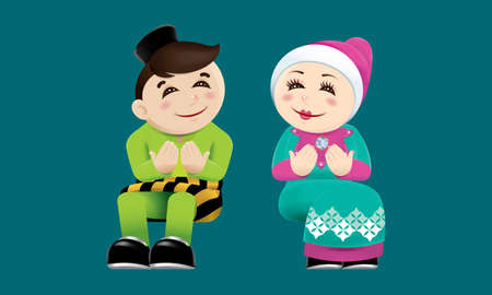 Muslim boy and girl with praying post. With color background.