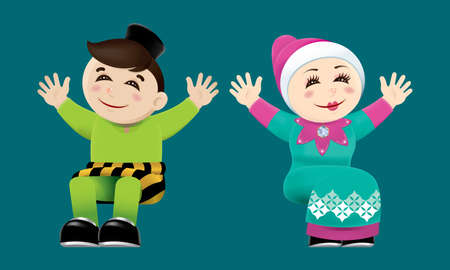 Boy and girl waving their hands Illustration
