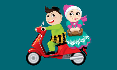 Muslim boy and girl riding on a motorbike together.  With color background. Illustration