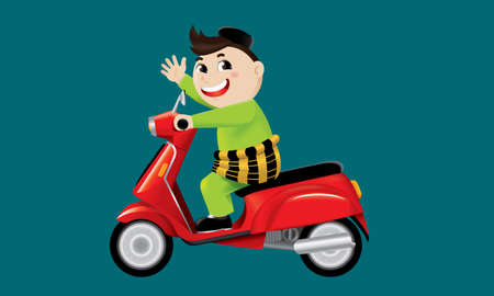 A Muslim boy riding on a cute motorbike.  With color background.