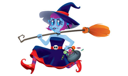 A running cute witch, holding a bowl of candies and a magic broom in her hand. Isolated.