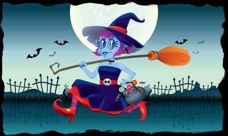 A running cute witch, holding a bowl of candies and a magic broom in her hand. With spooky background. Illusztráció