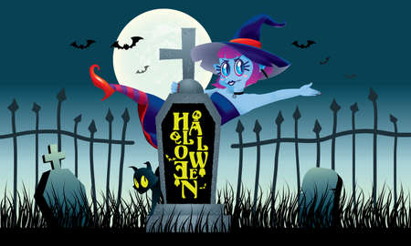 A cute witch stand behind a gravestone. With spooky background.