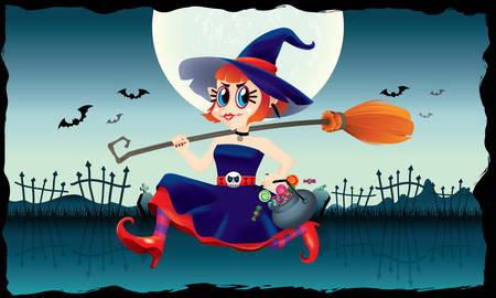 A running cute witch, holding a bowl of candies and a magic broom in her hand. With spooky background. Ilustracja