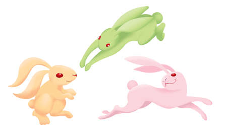 Rabbits in different posts and colours Isolated.
