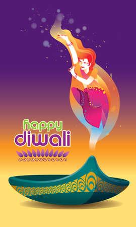 Vector for Deepavali or Diwali, with a dancing woman, oil lamp and Deepavali greetings.