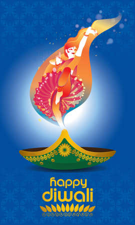 Vector for Deepavali or Diwali, with a dancing woman, oil lamp and Deepavali greetings.