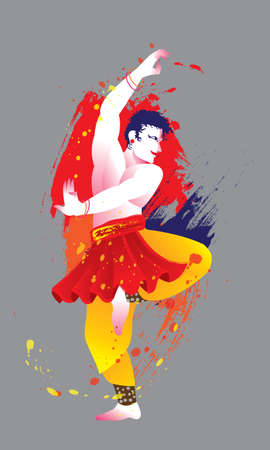 Isolated vector of a colourful dancing man with Indian costume, presented in energetic ink splashing style.