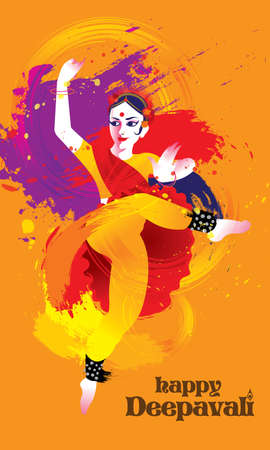 Deepavali vector of a colourful dancing woman with Indian costume, presented in energetic ink splashing style. Illustration