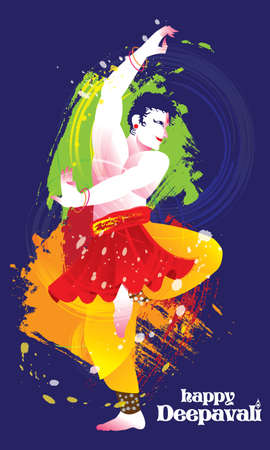 Deepavali vector of a colourful dancing man with Indian costume, presented in energetic ink splashing style. Illustration