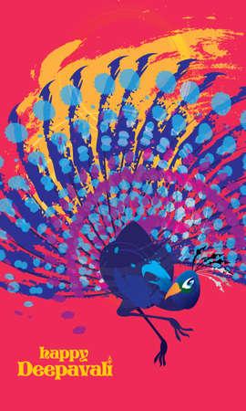 Deepavali vector of a colourful dancing peacock, presented in ink energetic splashing style.