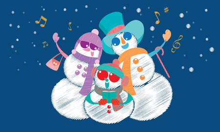 Vector of a snowman's family, singing Christmas carol under the snow.