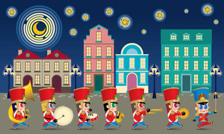 A marching cute brass band with various kind of instruments. With night time street scene.