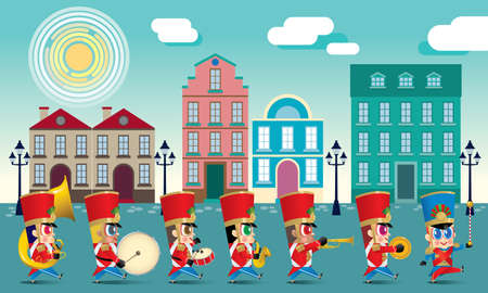 A marching cute brass band with various kind of instruments. With day time street scene. Ilustrace