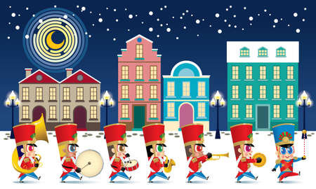 A marching cute brass band with various kind of instruments. With snowing night time street scene.