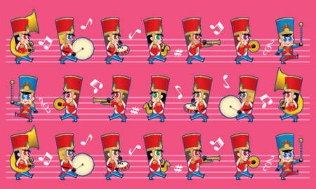 A marching cute brass band with various kind of instruments. With colour and music symbols background.