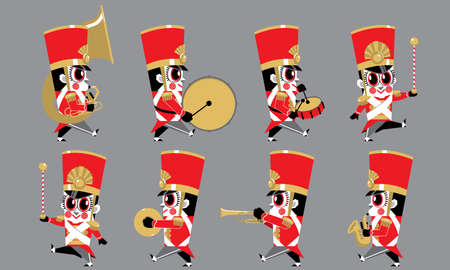 A marching cute brass band with various kind of instruments. Isolated.