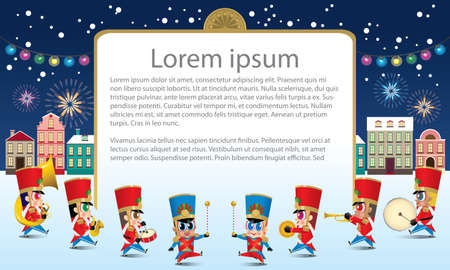 A marching cute brass band with various kind of instruments. With snowing night time street scene. Texts are dummy text.