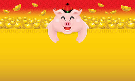 Cute little pigs image for Chinese New Year 2019, also the year of the pig.