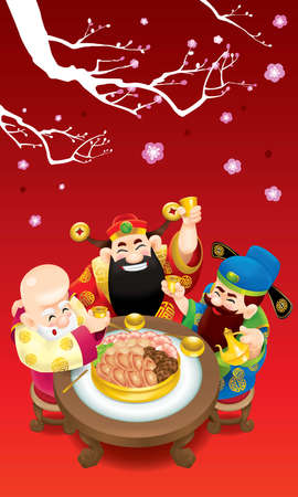 Three cute Chinese gods (represent long life, wealthy and career) are feasting cheerfully.