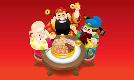 Three cute Chinese gods (represent long life, wealthy and career) are feasting cheerfully. Stock Illustratie