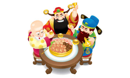 Three cute Chinese gods (represent long life, wealthy and career) are feasting cheerfully. Illustration
