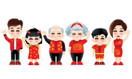 An oriental family with one hand raised. Isolated. Illustration