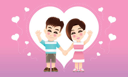 A young oriental couple with casual costume and a love background. Illustration