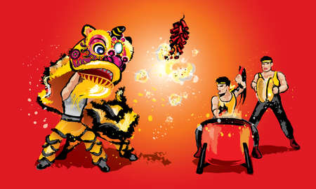 A Chinese lion raising it's head, firecrackers and a team playing drums and cymbal. In various colors and presented in splashing ink drawing style. Vector. Reklamní fotografie - 115660496