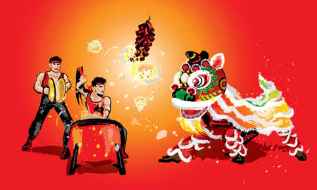 A squatting Chinese lion, firecrackers and a team playing drums and cymbals. In various colors and presented in splashing ink drawing style. Vector.