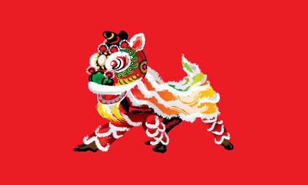 A squatting Chinese lion in various colors and presented in splashing ink drawing style. Vector. Vector Illustration