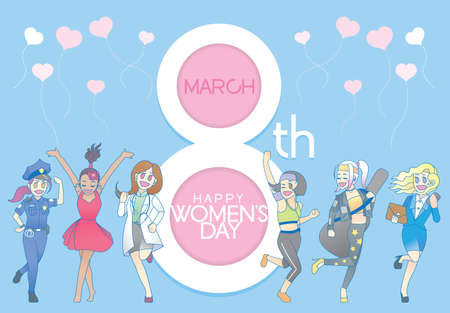 A group of modern females celebrating International Womens Day. Vector.