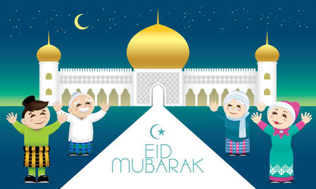 A Muslim family celebrating Raya festival, with a mosque background. Caption: happy holiday. Vector. Illustration