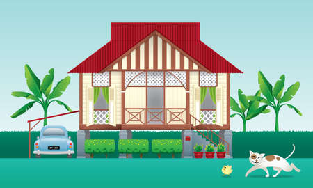 A beautiful traditional wooden Malay style village house. With an antique car. Isolated. Vector. Illusztráció
