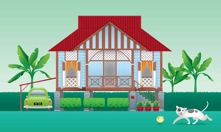 A beautiful traditional wooden Malay style village house. With an antique car. Isolated. Vector. Çizim