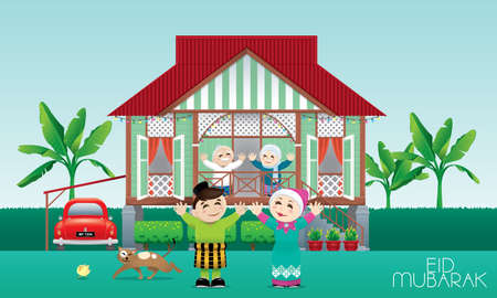 A Muslim family celebrating Raya festival in their traditional Malay style house. Caption: happy holiday. Vector.
