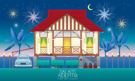 A beautiful traditional wooden Malay style village house. With an antique car. Caption: happy Hari Raya. Vector.