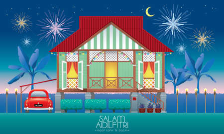 A beautiful traditional wooden Malay style village house. With an antique car. Caption: happy Hari Raya. Vector. Illustration