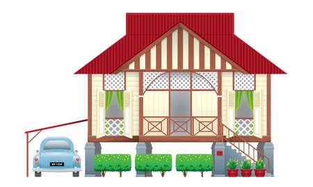 Ein schönes traditionelles Holzhaus im malaiischen Stil. Mit einem Oldtimer. Isoliert. Vektor. Vektorgrafik