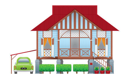 A beautiful traditional wooden Malay style village house. With an antique car. Isolated. Vector.  イラスト・ベクター素材
