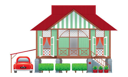 A beautiful traditional wooden Malay style village house. With an antique car. Isolated. Vector. Vetores