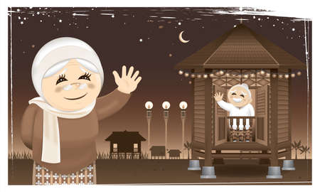 A happy Muslim family and their home town in rural area. Artwork presented with nostalgia effect.