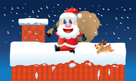 A cute Santa and his reindeer is busy sending Christmas presents. Vector.